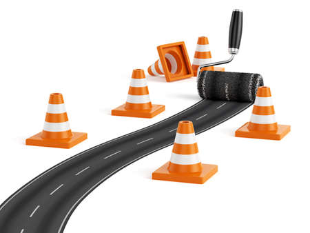 traffic cones: 3d render of painting the road with roller brush. Road construction concept