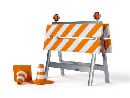 3d render of under construction barrier with road cones. Isolated on white background photo