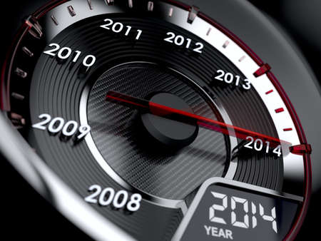 end of the days: 3d illustration of 2014 year car speedometer. Countdown concept