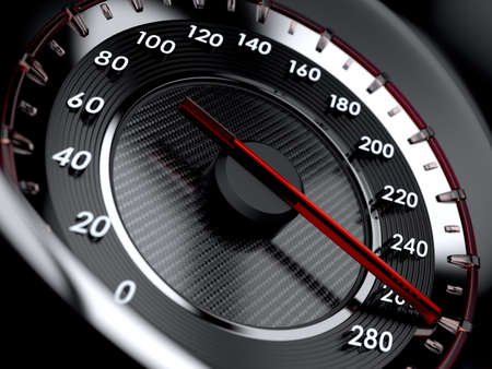 車のスピード メーターの 3 d イラストレーション。ハイスピー ドのコンセプト