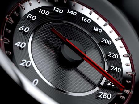 velocímetro: 3d ilustración del velocímetro del coche. Concepto de alta velocidad
