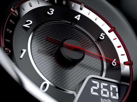 車のタコメータの 3 d イラストレーション。ハイスピー ドのコンセプト