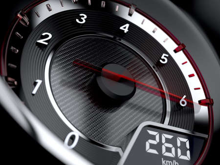 velocímetro: 3d ilustración de tacómetro coche. Concepto de alta velocidad