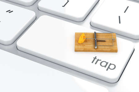 3d render of Enter button with mouse trap. Safety concept  photo