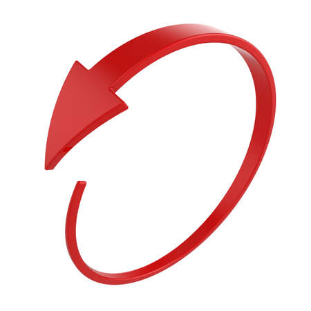 arrow circle: 3d illustration of red round arrow on white background Stock Photo
