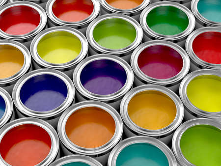 3d illustration of colorful paint cans set illustration