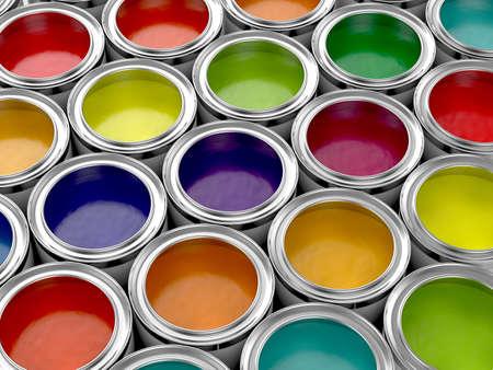 festékek: 3d illusztrációja színes festékes dobozok beállítva