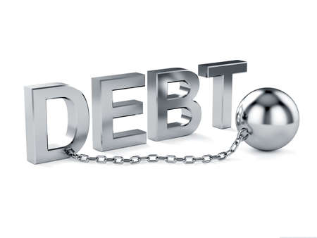 shackled: 3d illustration of debt text with chain. Slave concept