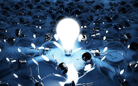 3d illustration of lignt bulb glowing. Energy concept