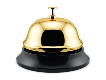 3d render of golden reception bell isolated on white background. Service concept photo