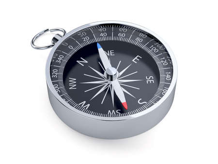 3d render of compass isolated on white background photo