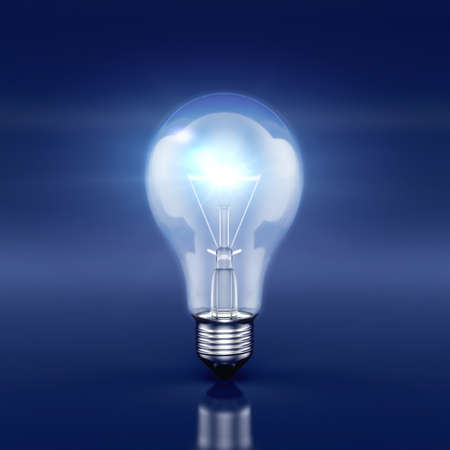 3d render of glowing light bulb on the blue background. Ideas concept