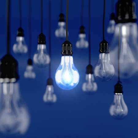 3d render of glowing light bulb. Ideas concept Imagens