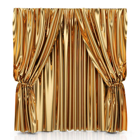 drape: 3d render of golden curtains isolated at white background