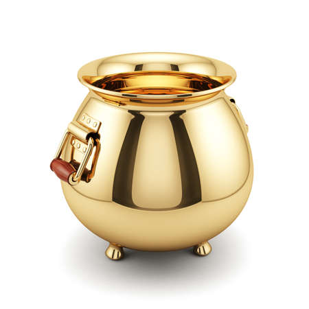 fortune concept: 3d render of empty golden pot isolated on white background. Fortune concept