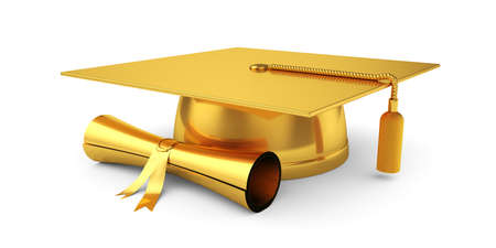 3d illustration of golden graduation cap with diploma. Isolated on white background  Stok Fotoğraf