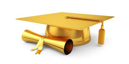 graduado: 3d ilustración de la tapa de graduación de oro con diploma. Aislado en el fondo blanco