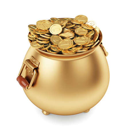 3d render pot of gold coins isolated on white