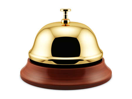 ding: 3d render of golden reception bell isolated on white background. Service concept