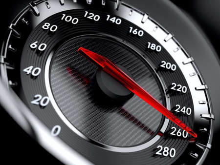 3d illustration of car speedometer. High speed concept