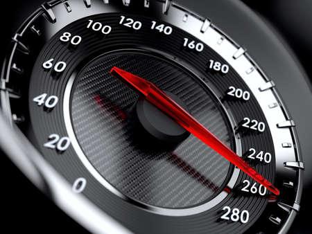 velocidad: 3d ilustración del velocímetro del coche. Concepto de alta velocidad