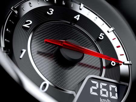 3d illustration of car tachometer. High speed concept