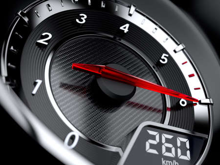maximum: 3d illustration of car tachometer. High speed concept