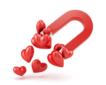 iman: Render 3D de imán con corazones rojos Amor concepto
