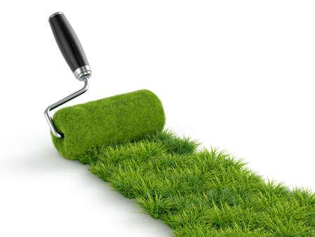 白い背景の上にローラーが分離された草の緑色のペンキの 3 d イラストレーション 写真素材