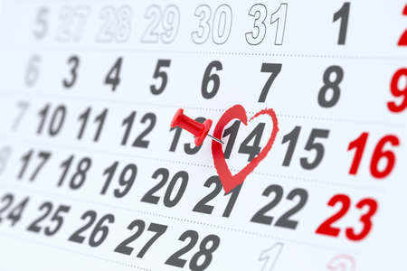 3d render of 14 february calendar pin  Valentines day concept photo
