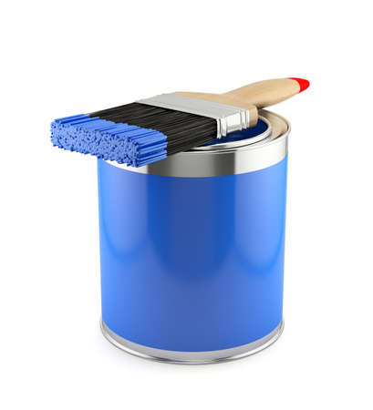 messy paint: 3d illustration of paint brush with blue can  Renovation concept