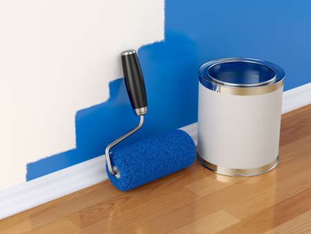 roller brush: 3d render of roller brush and can with part painted wall  Renovation concept  Stock Photo