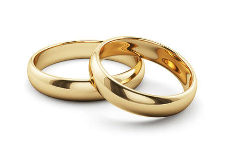 3d render of golden rings isolated on white background Stock Photo