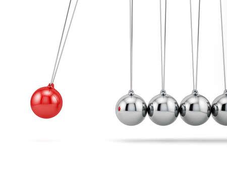 3D render van newton ballen geïsoleerd op een witte achtergrond Stockfoto