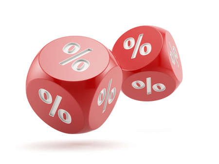 3d render of percent dices falling. Finance concept photo
