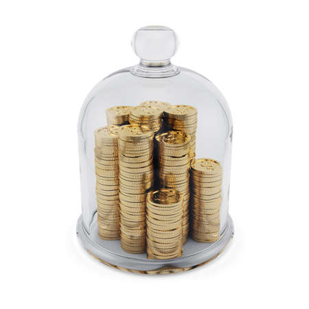 3d render of golden coins covered by glass bell. Financial concept photo