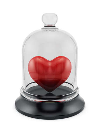 3d render of heart covered by glass bell. Love concept photo