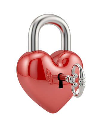 3d render of padlock heart with key. Love concept photo