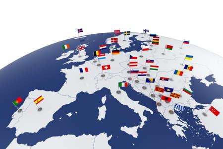 Rendu 3d de carte de l'Europe avec drapeaux de pays