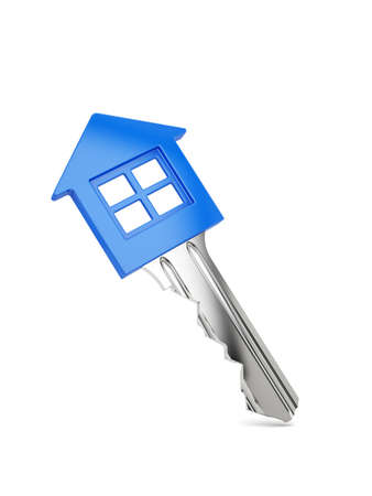 House key isolated on white as a concept of real estate business photo