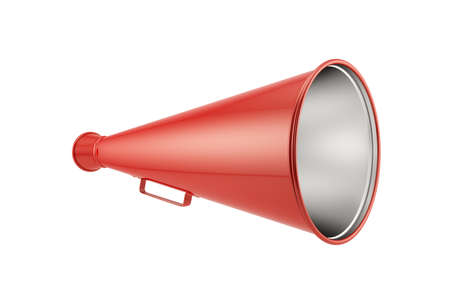 3d render of red megaphone isolated on white background photo