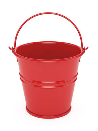household objects equipment: 3d render of red metal bucket. isolated on white background