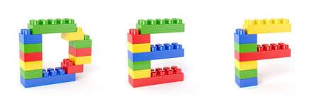 toy blocks: 3d render of brick blocks colorful letters alphabet. Education concept. D, E, F