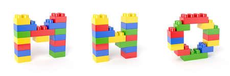 toy blocks: 3d render of brick blocks colorful letters alphabet. Education concept. M, N, O