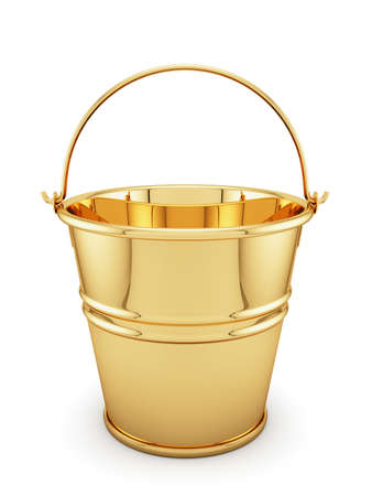 3d render of golden bucket isolated on white background Stock Photo
