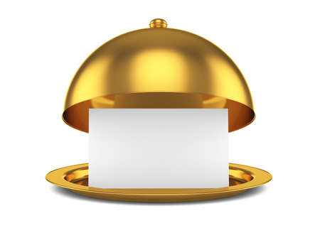 3d render of golden opened cloche with paper template, isolated on white background