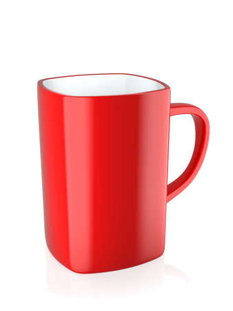 3d render of red coffee mug isolated on white background photo