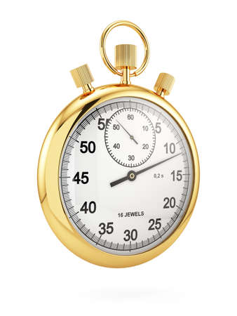 3d render of golden stopwatch isolated on white background. Time concept photo