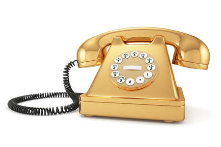 3d illustration of gold old-fashioned phone on white background illustration