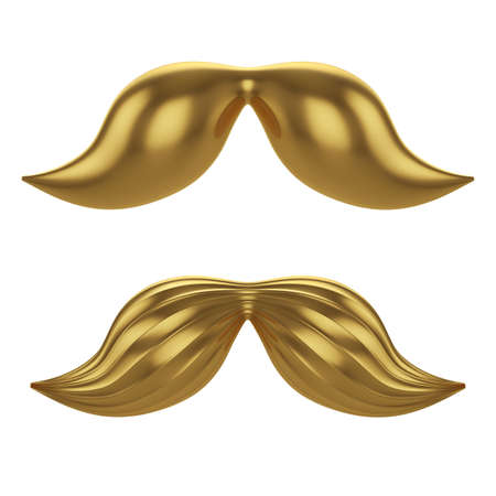 3d render of golden mustache isolated on white background  photo